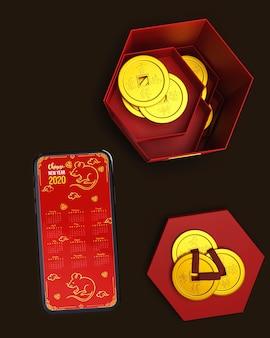 Cajas rojas con decoraciones y móvil al lado