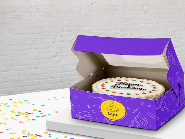 Cake box mock up