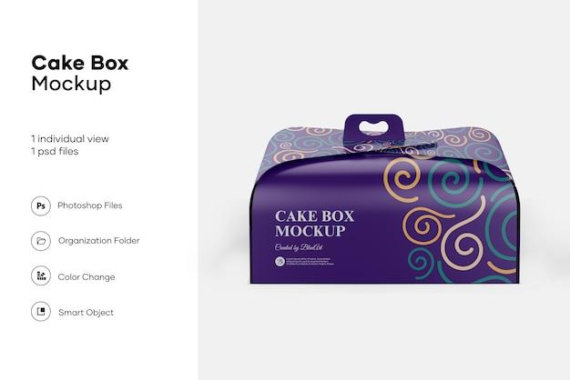 Cake box mockup design geïsoleerd