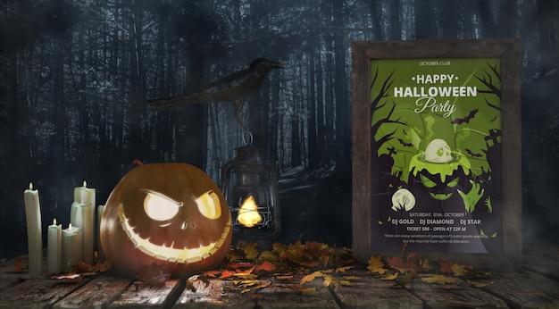Calabaza aterradora con póster de la película de terror