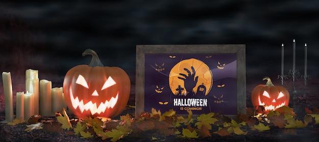Calabazas de miedo con póster de película de terror