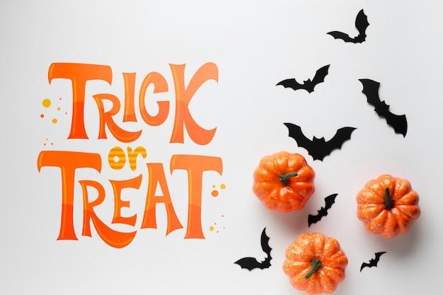 Calabazas y murciélagos para el día de halloween