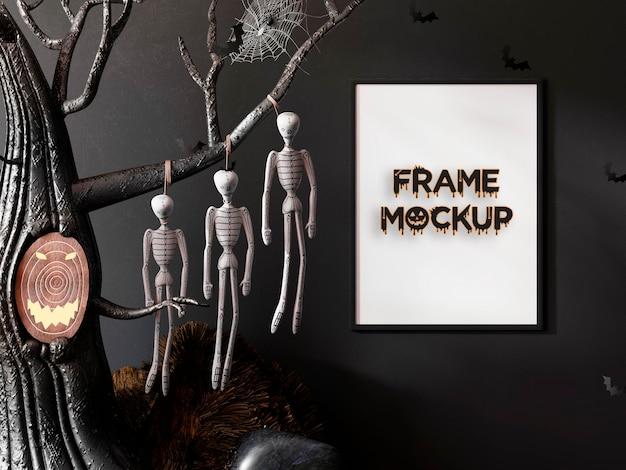 Calavera de maqueta de marco de halloween premium psd