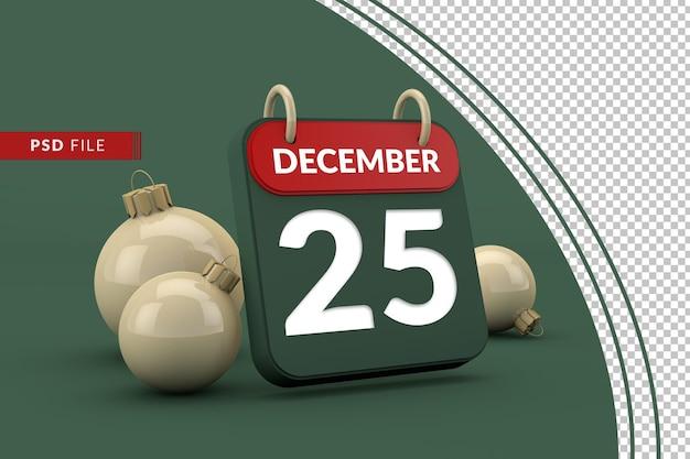 Calendario 25 de diciembre celebración navideña