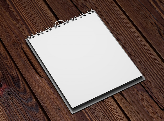 Calendario cuadrado realista sobre madera.