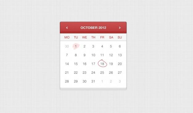 Calendario di applicazione a mano in pelle cucita a ui elemento web app