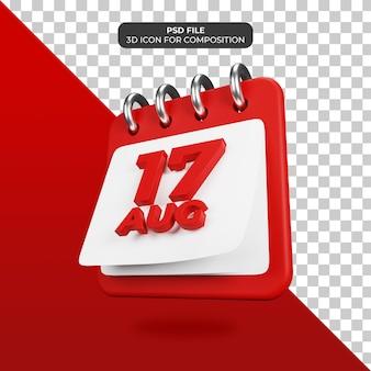 Calendario día de la independencia 17 de agosto icono psd