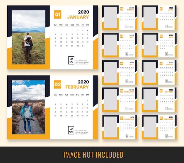 Calendario de escritorio 2020 diseño