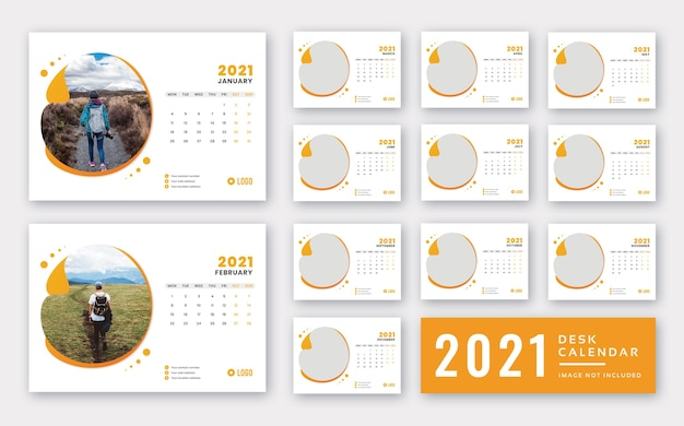 Calendario de escritorio 2021 plantilla lista para imprimir