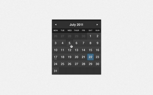 Calendario formal oscuro psd