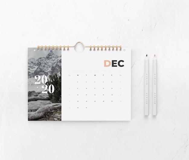 Calendario en maqueta de concepto de pared