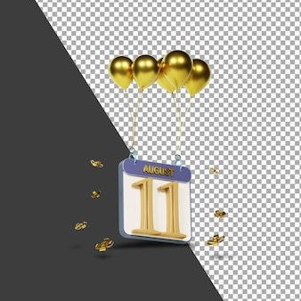 Calendario mes 11 de agosto con globos dorados representación 3d aislada