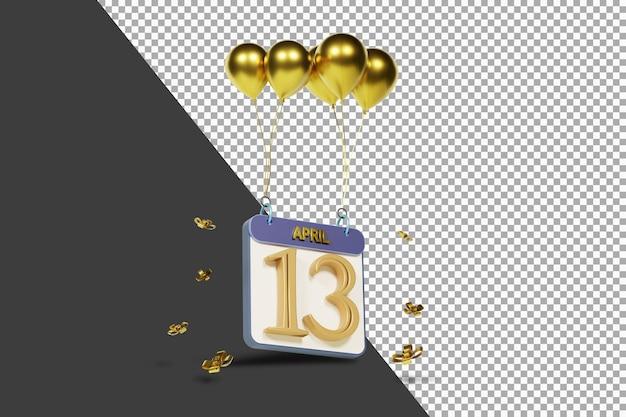 Calendario mes 13 de abril con globos dorados representación 3d aislada