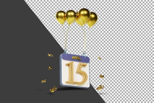 Calendario mes 15 de abril con globos dorados render 3d aislado
