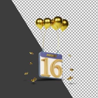 Calendario mes 16 de agosto con globos dorados representación 3d aislada