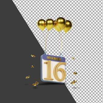 Calendario mes 16 de diciembre con globos dorados representación 3d aislada