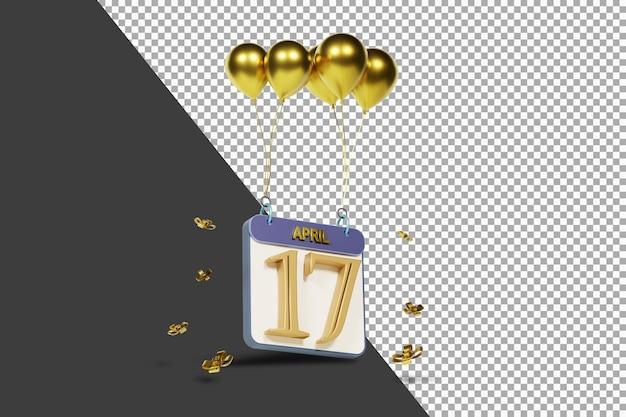 Calendario mes 17 de abril con globos dorados render 3d aislado