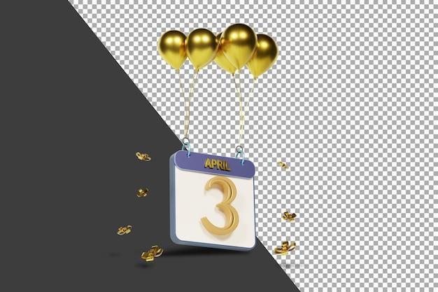 Calendario mes 3 de abril con globos dorados representación 3d aislada