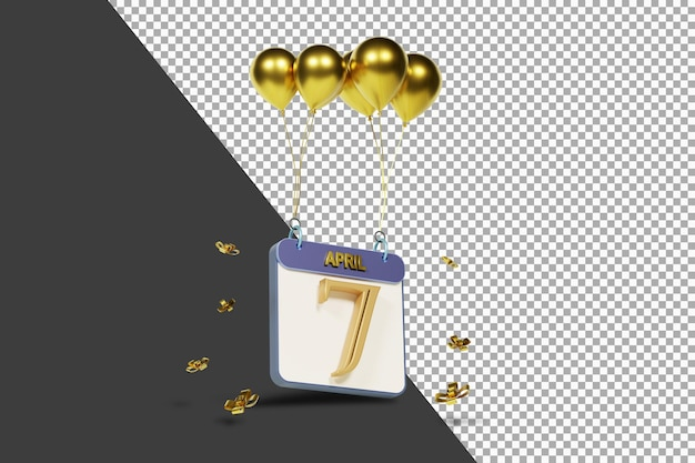 Calendario mes 7 de abril con globos dorados render 3d aislado