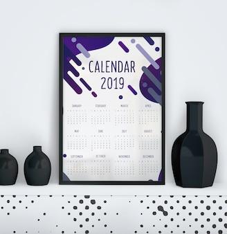 Calendario con plantilla de efecto liquido.