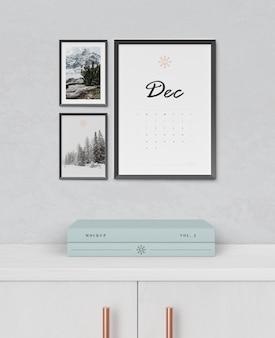 Calendario putt en soporte de marco de pintura