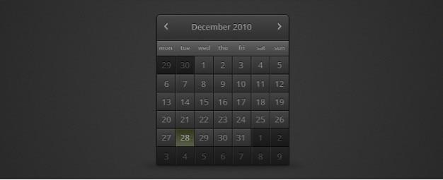 Calendario scuro psd