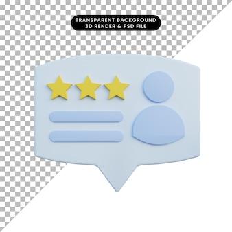 Calificación de ilustración 3d con icono de personas