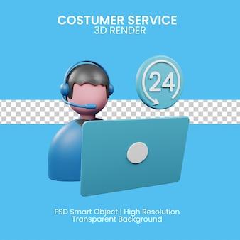 Call center y soporte técnico para cliente, consulta online. ilustración 3d