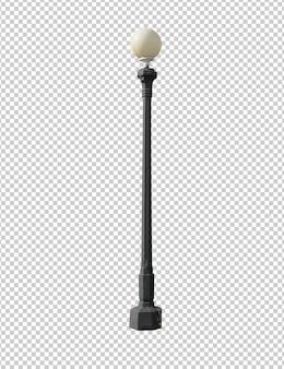 Calle vintage lámpara aislada sobre fondo blanco