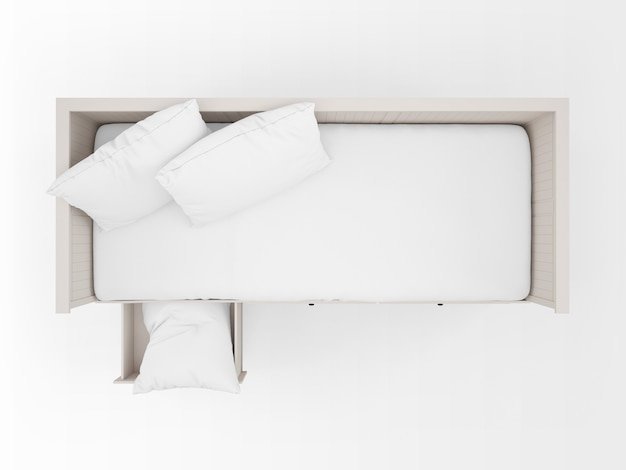 Cama blanca realista con cajones en la vista superior