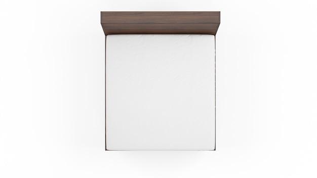 Cama doble con colchón blanco aislado, vista superior