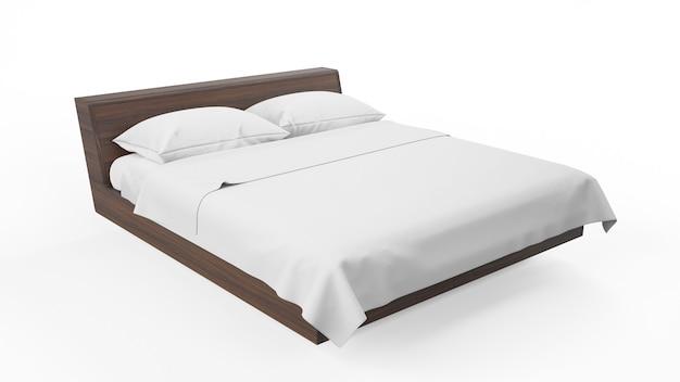 Cama doble con marco de madera y sábanas blancas, aislado