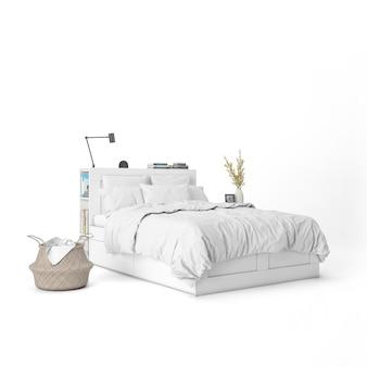 Cama con maqueta de sábanas blancas y elementos decorativos.