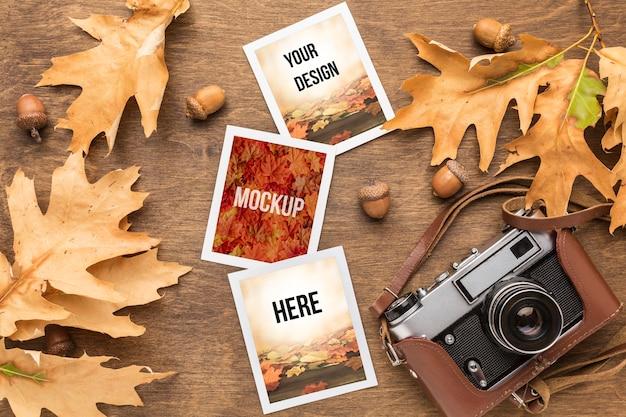 Cámara y fotos con hojas de otoño.