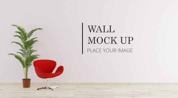 Camera con parete mock up con sedia e pianta