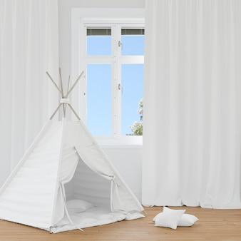 Camera con tenda bianca
