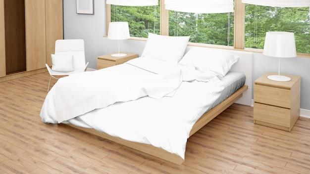 Camera d'albergo o camera da letto con letto matrimoniale e ampie finestre