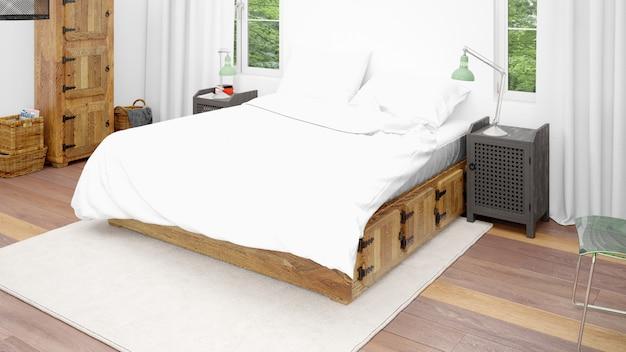 Camera d'albergo o camera da letto con letto matrimoniale e stile accogliente