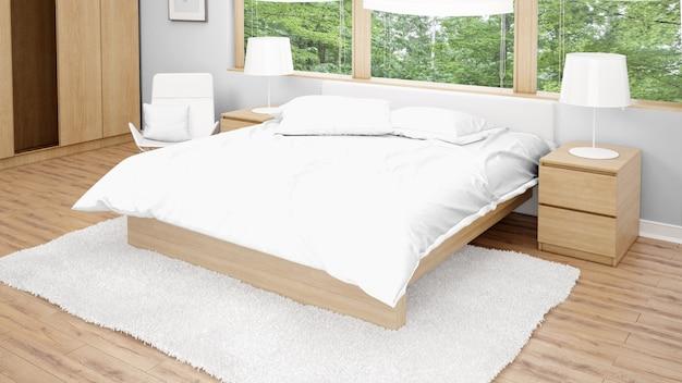 Camera d'albergo o camera da letto con letto matrimoniale e vista sul giardino dalle finestre