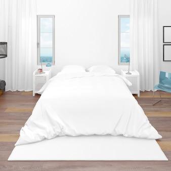Camera d'albergo o camera da letto con letto matrimoniale e vista sul mare