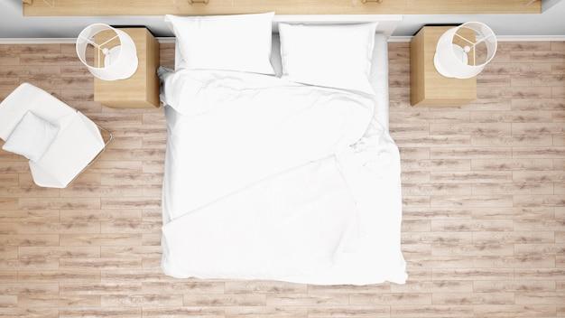 Camera d'albergo o camera da letto con letto matrimoniale, vista dall'alto