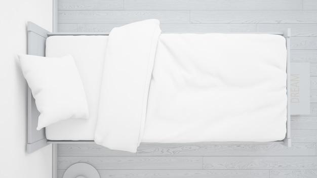 Camera da letto bianca realistica sulla vista dall'alto