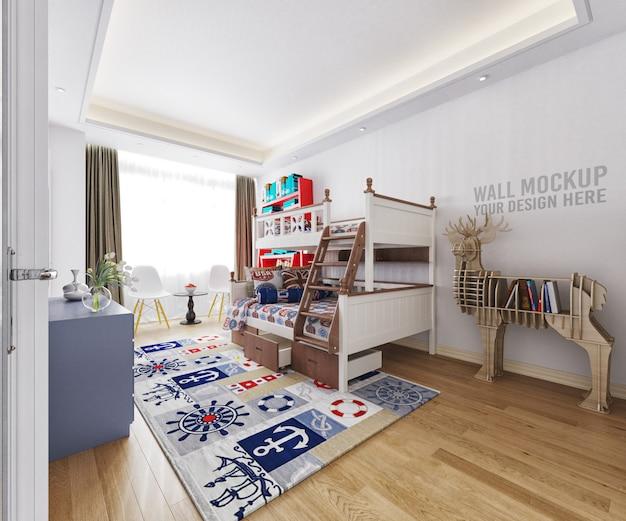 Camera da letto interna per bambini con decorazioni