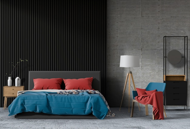 Camera da letto moderna interna, minimalismo. rendering 3d