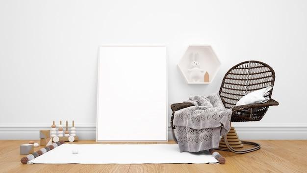 Camera decorata con mobili moderni, cornice per foto, moquette e oggetti decorativi