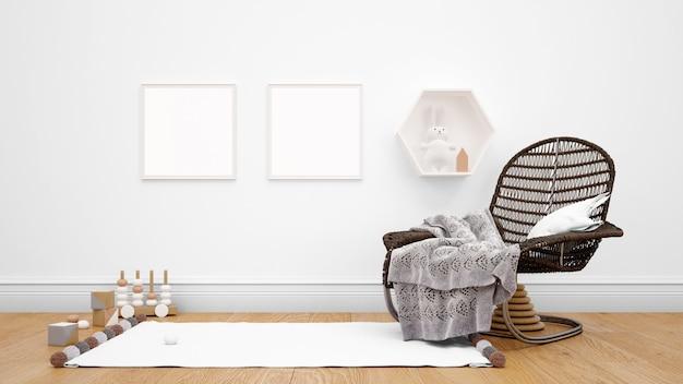 Camera decorata con mobili moderni, cornici per foto sul muro e oggetti decorativi