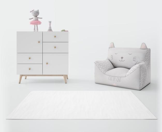 Camera per bambini con tappeto bianco