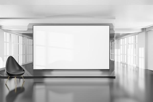 Camera vuota ed elegante con design moderno in colore bianco brillante