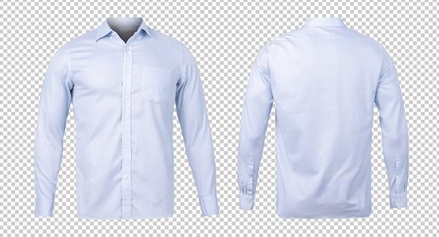 Camisa azul formal o de negocios, plantilla de maqueta de vista frontal y posterior para su diseño.