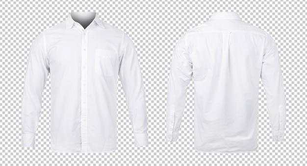 Camisa azul o blanca comercial, plantilla de maqueta de vista frontal y posterior para su diseño.